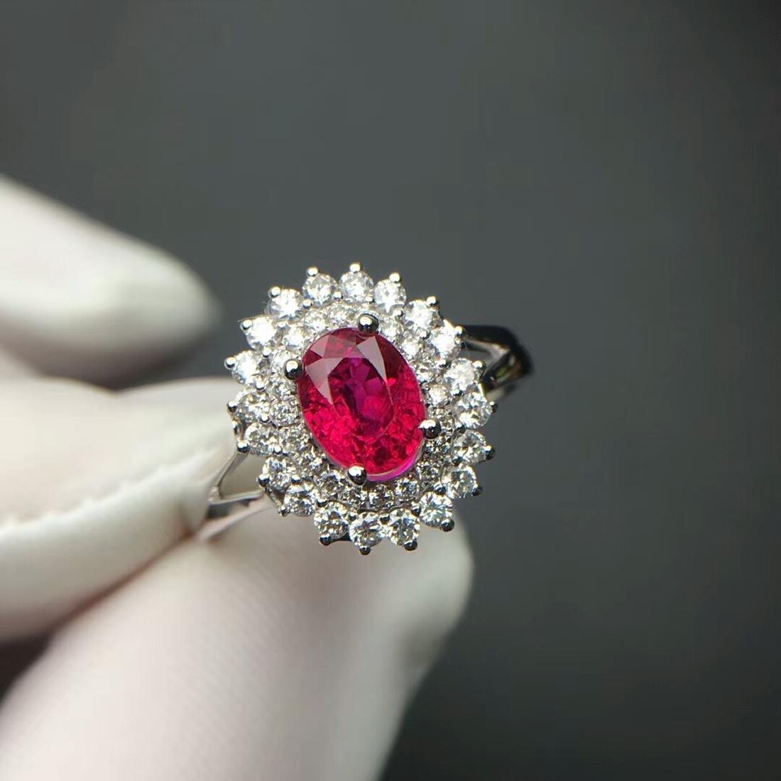 1.14 CTW Ruby & VS Diamond Ring 18K - 4