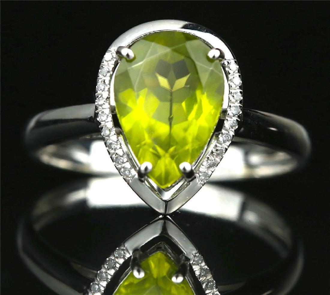 Certified-Elegant 18K white gold Peridot ring - 2