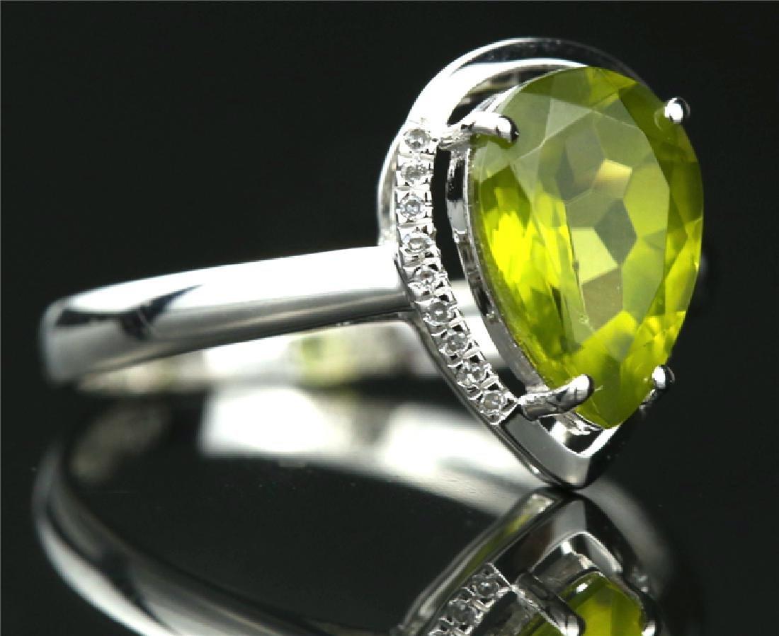 Certified-Elegant 18K white gold Peridot ring - 3