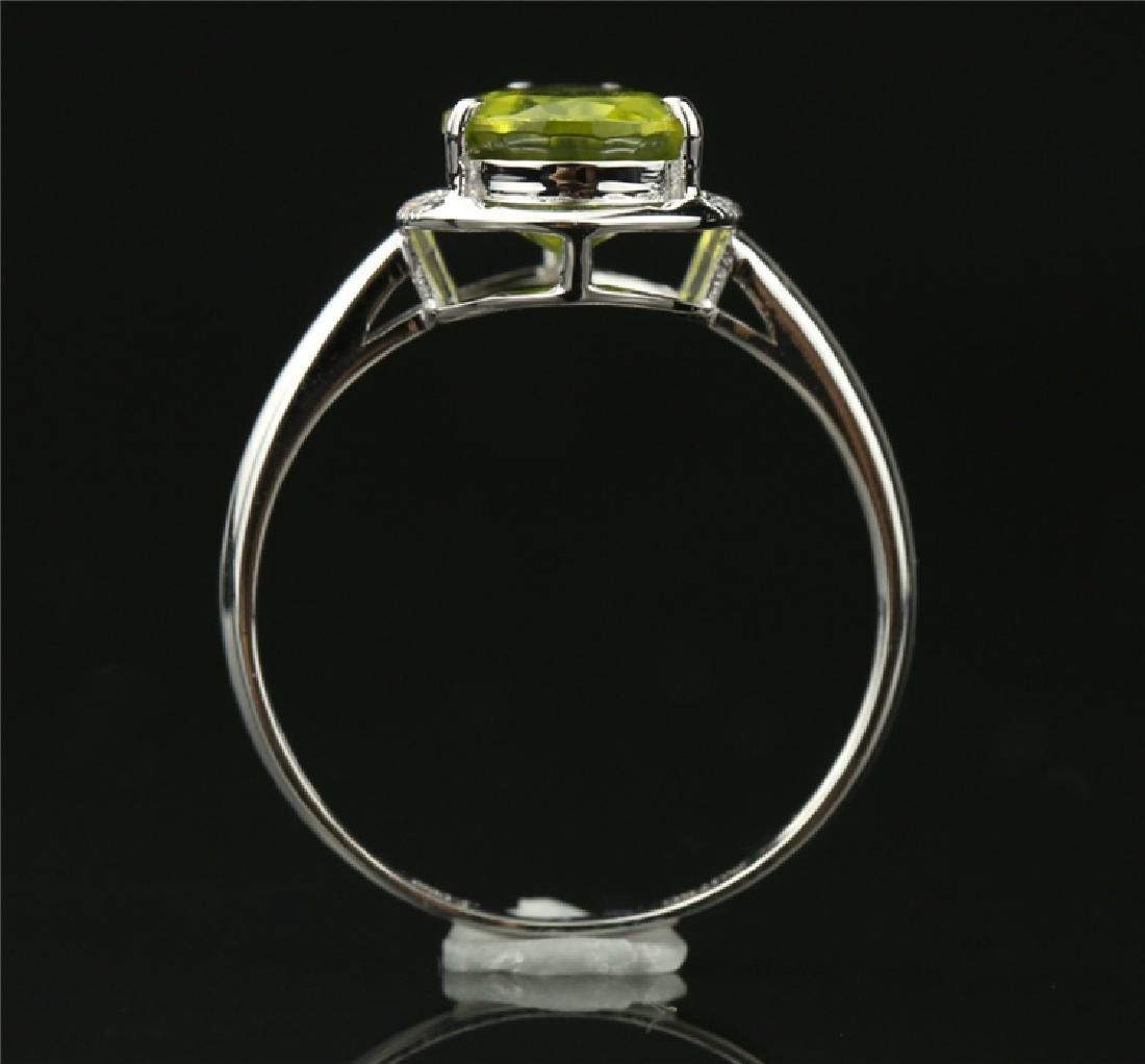 Certified-Elegant 18K white gold Peridot ring - 4