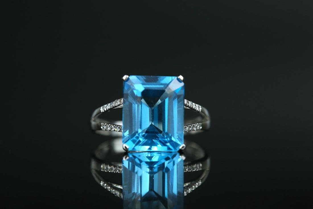 Certified-Swiss blue Topaz ring with 18K white gold