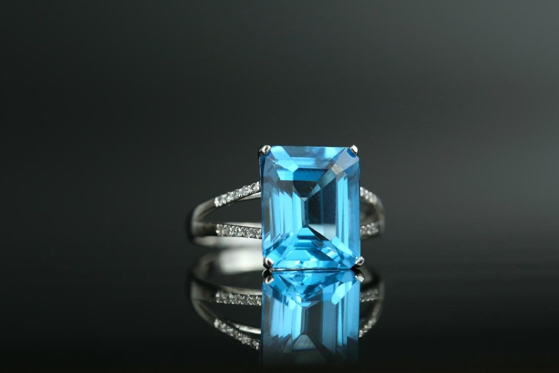 Certified-Swiss blue Topaz ring with 18K white gold - 2