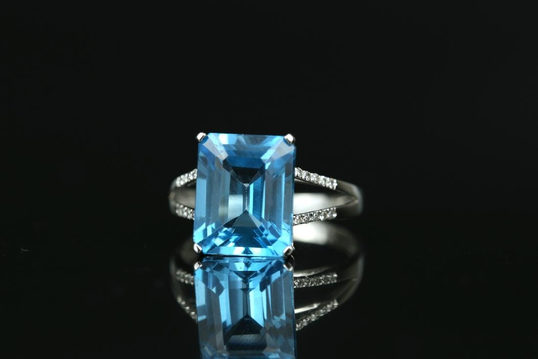 Certified-Swiss blue Topaz ring with 18K white gold - 3