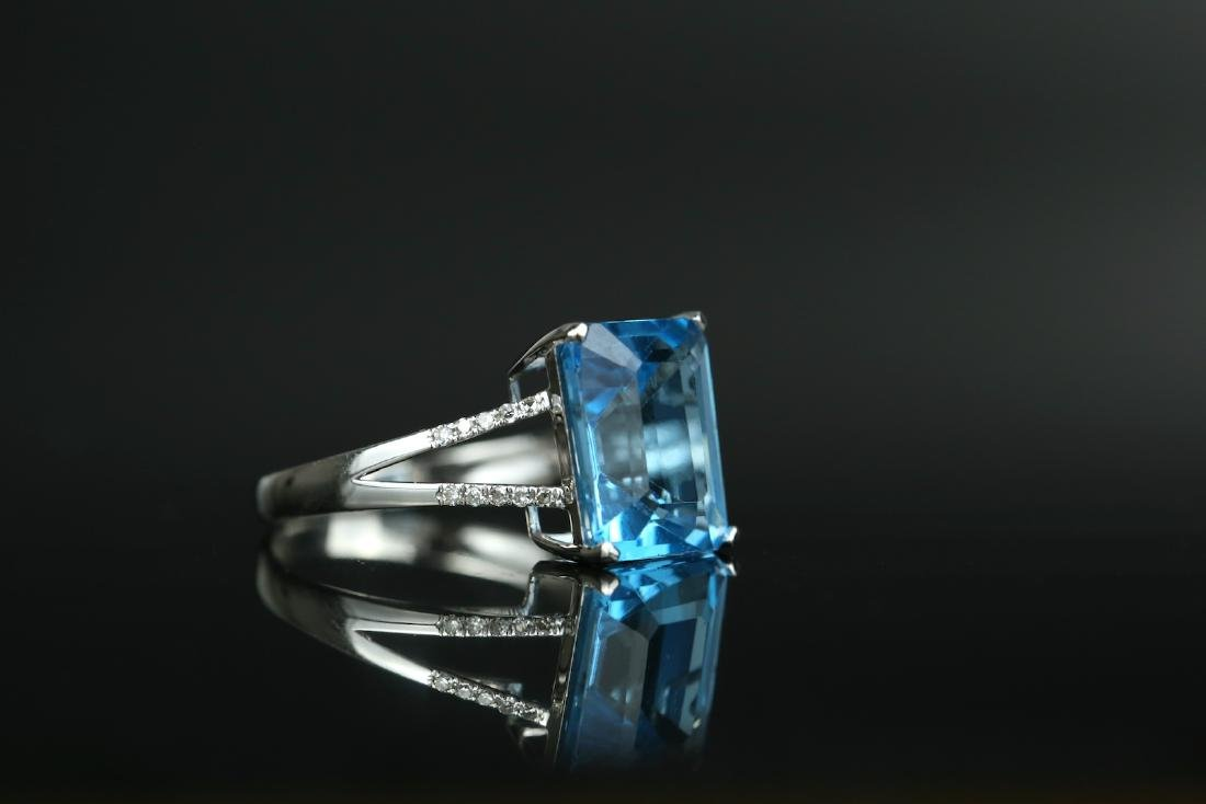 Certified-Swiss blue Topaz ring with 18K white gold - 4