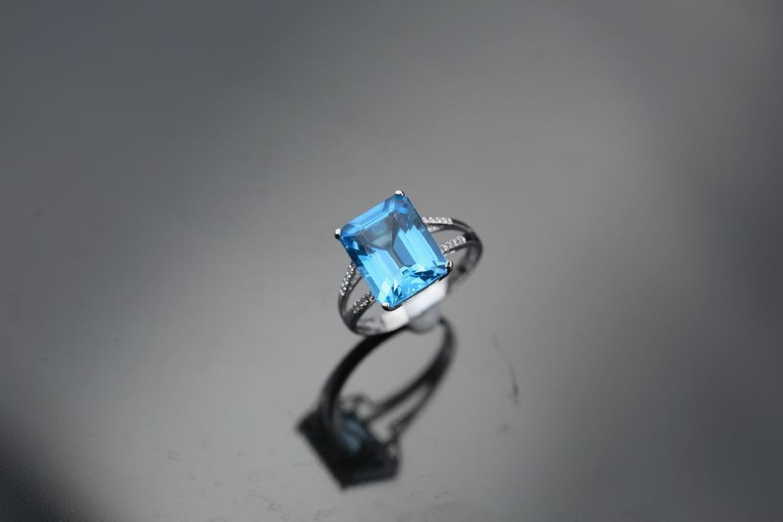 Certified-Swiss blue Topaz ring with 18K white gold - 5