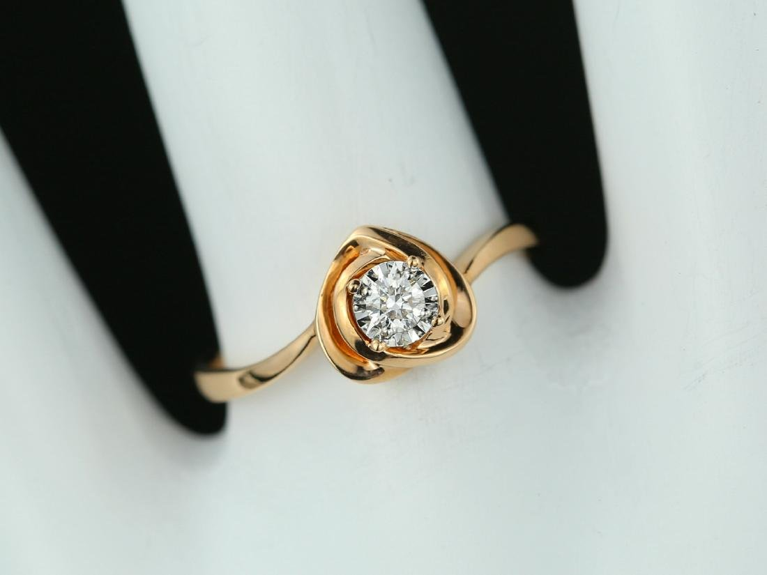 Certified-18Kt Rose gold solidaire morden engagement - 7