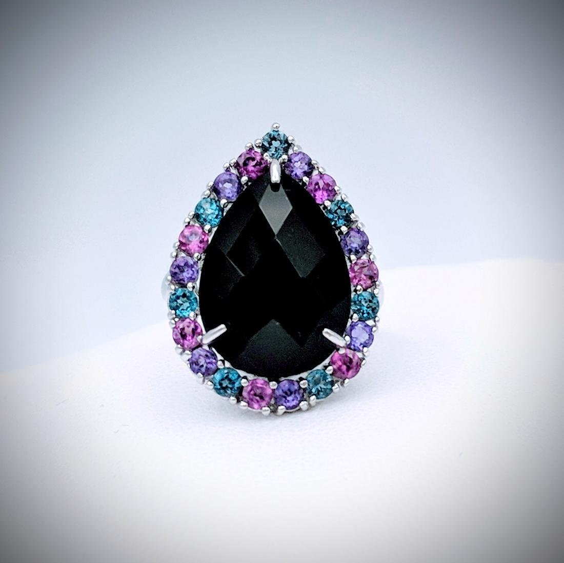 Sterling Silver Ring with Black Onyx, Blue Topaz, Pink