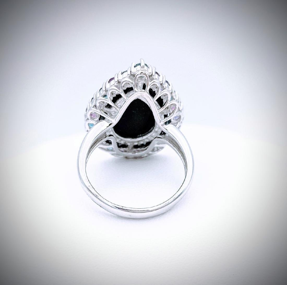 Sterling Silver Ring with Black Onyx, Blue Topaz, Pink - 2