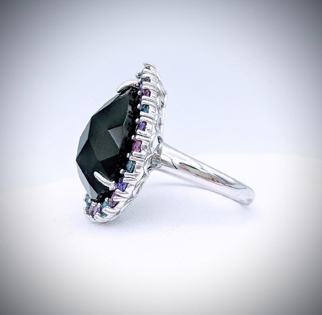 Sterling Silver Ring with Black Onyx, Blue Topaz, Pink - 3