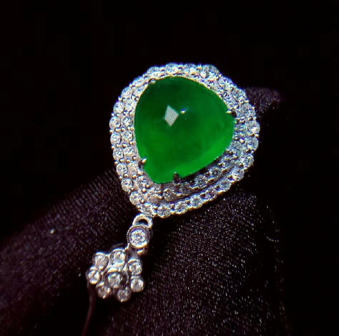 6.1ct Emerald Pendant in 18kt White Gold - 3