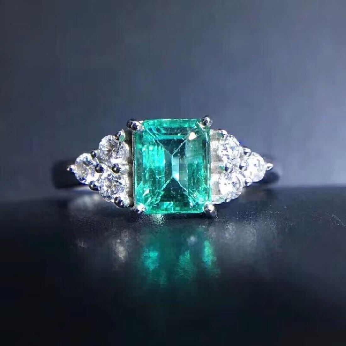 1.15 CTW Emerald & VS Diamond Ring 18K