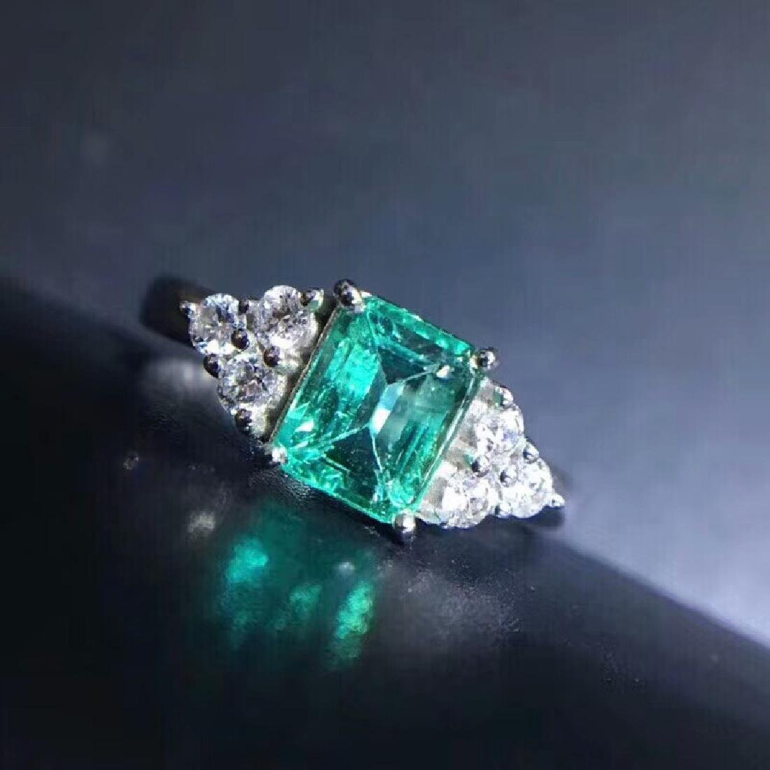1.15 CTW Emerald & VS Diamond Ring 18K - 2