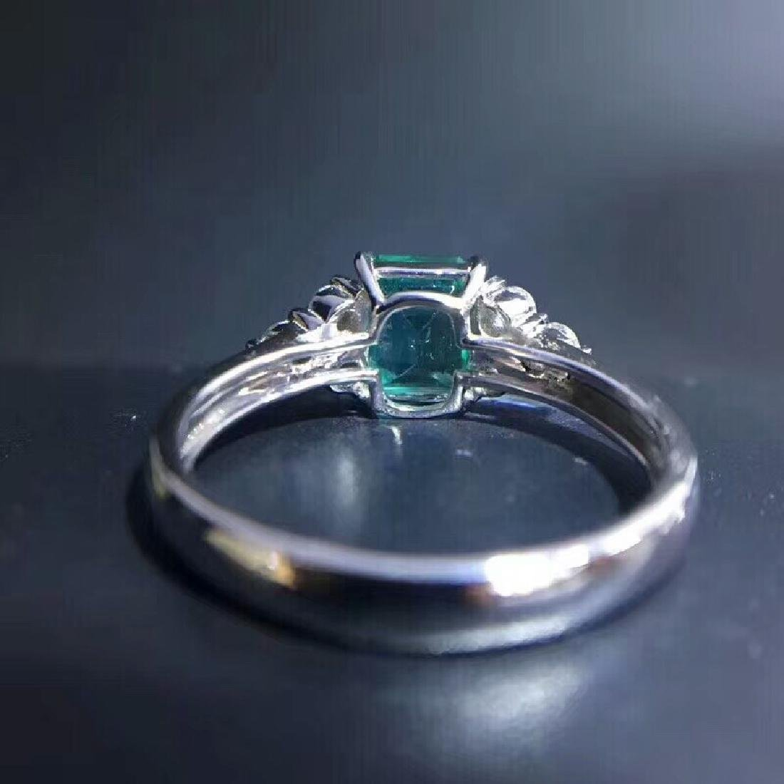1.15 CTW Emerald & VS Diamond Ring 18K - 5