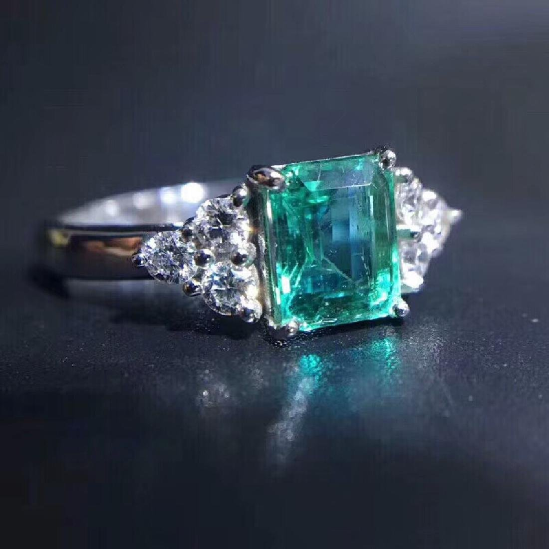 1.15 CTW Emerald & VS Diamond Ring 18K - 6