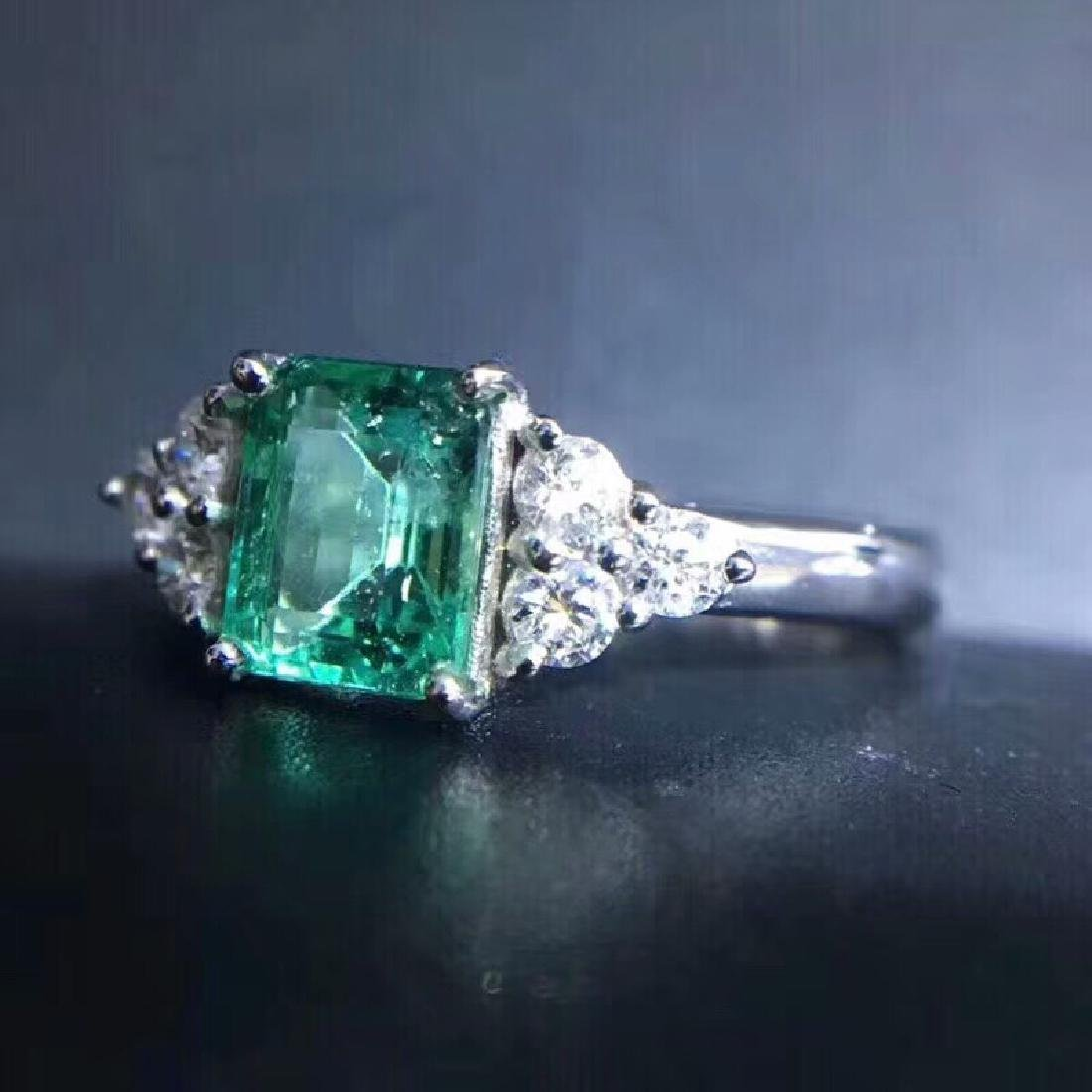 1.15 CTW Emerald & VS Diamond Ring 18K - 7