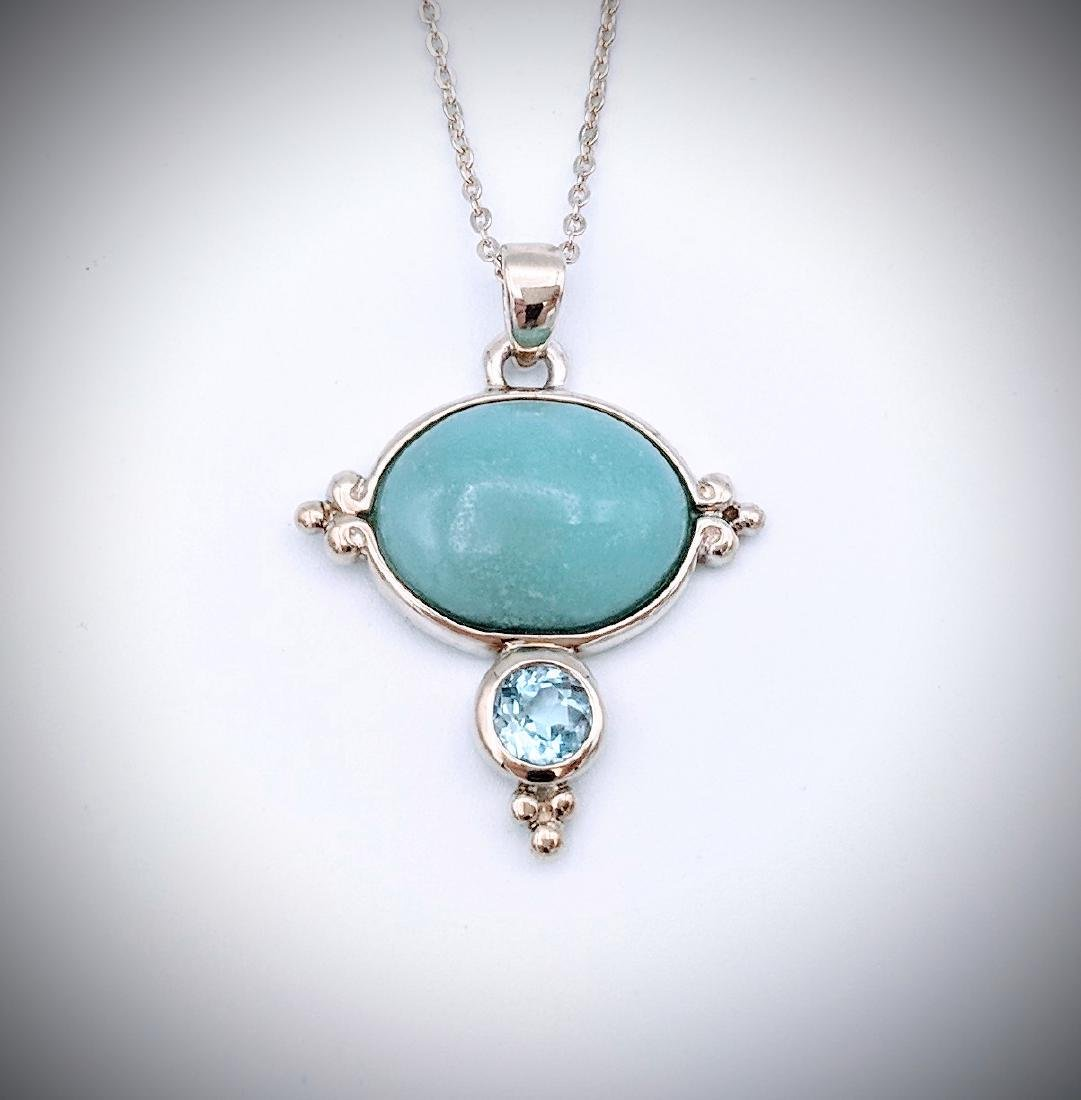 Sterling Silver Necklace w Turquoise and Blue Topaz