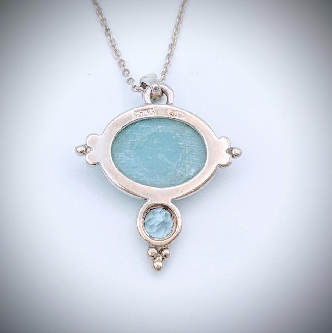 Sterling Silver Necklace w Turquoise and Blue Topaz - 2