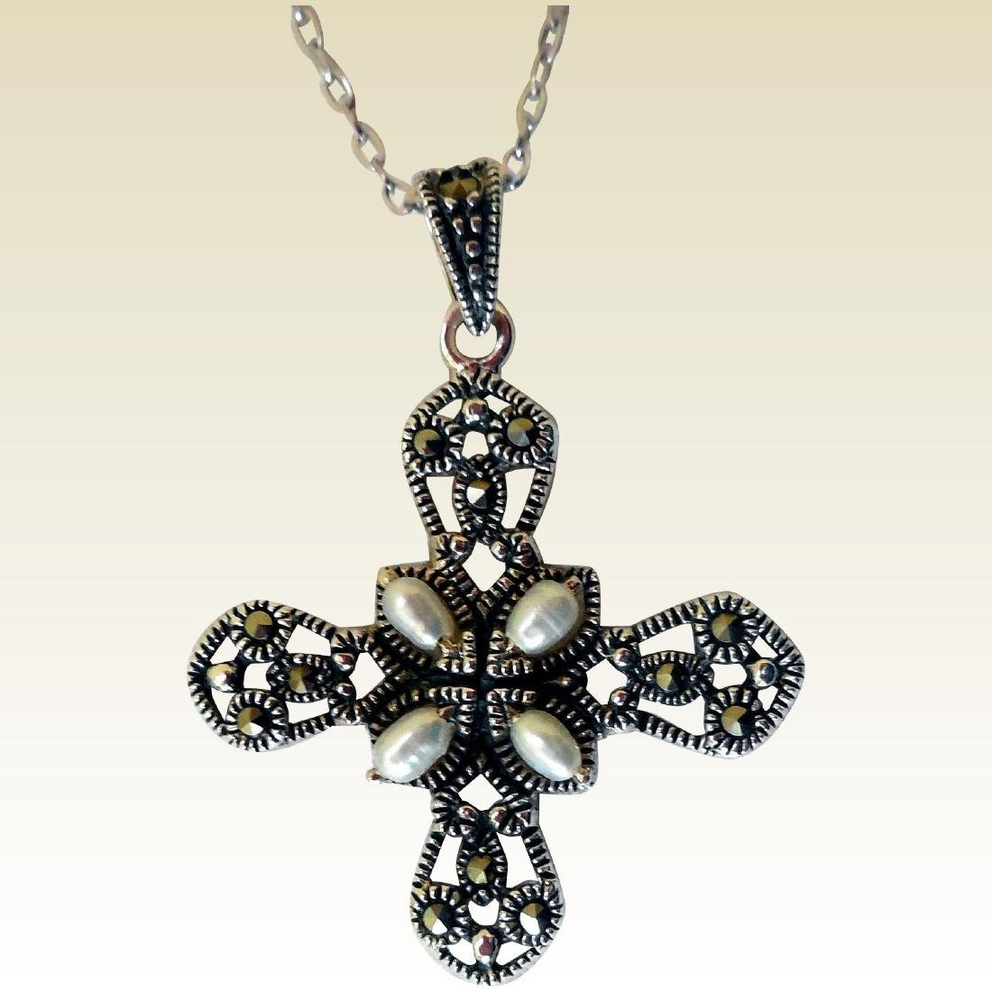 Sterling Silver Cross, Marcasites & Pearls