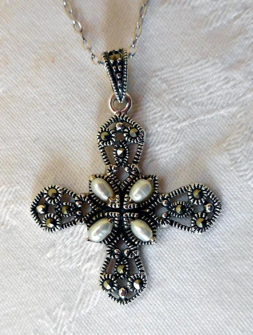 Sterling Silver Cross, Marcasites & Pearls - 2