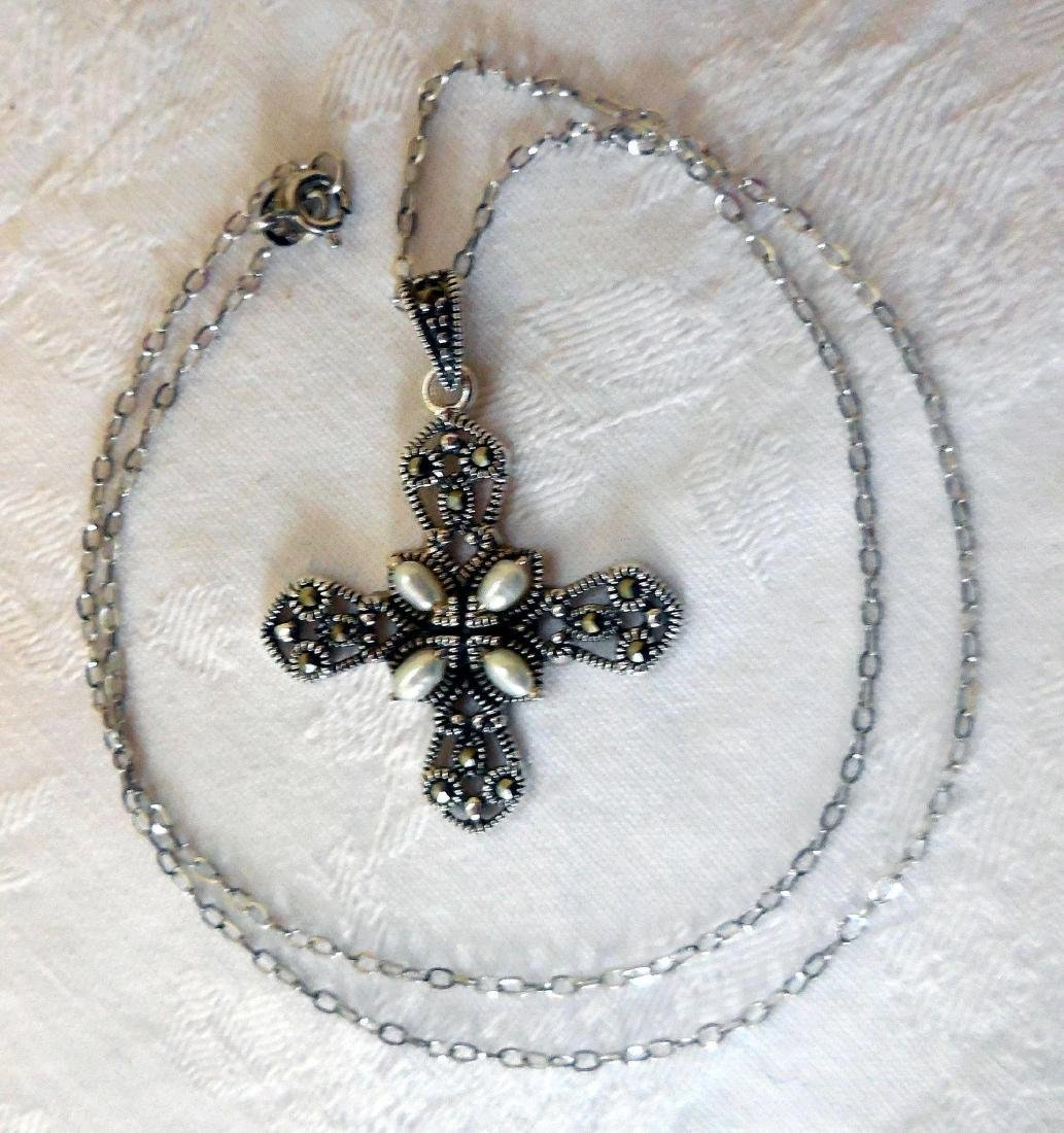 Sterling Silver Cross, Marcasites & Pearls - 3