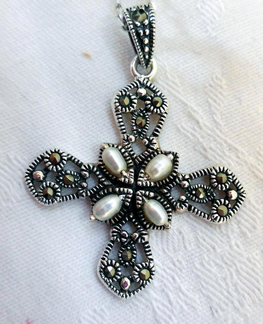 Sterling Silver Cross, Marcasites & Pearls - 8