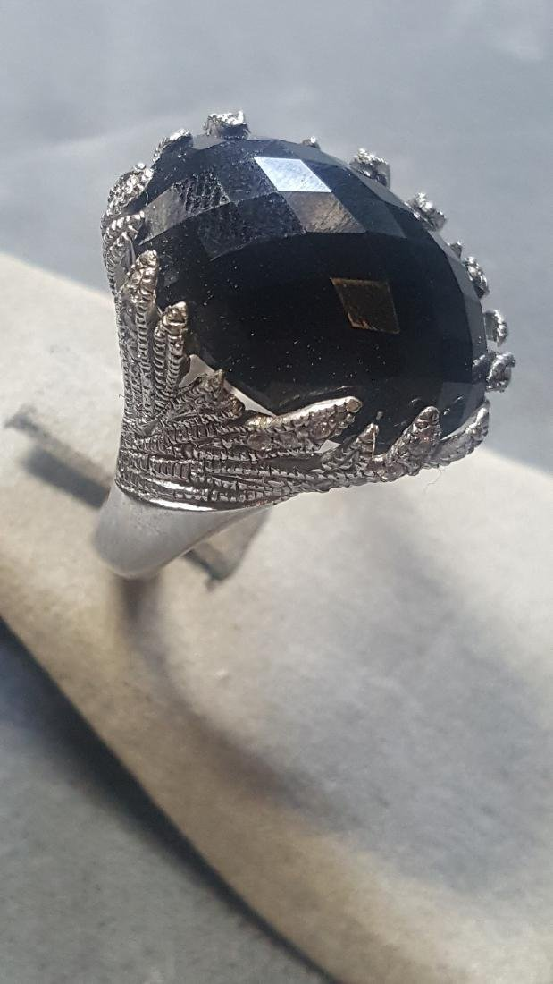 Onyx & Wht. Sapphire Ring - 2