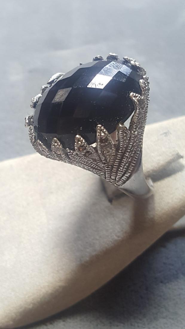 Onyx & Wht. Sapphire Ring - 3