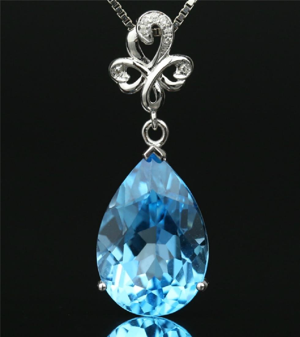 Certified-Swiss blue topaz pendant 7.2ct. With 18K