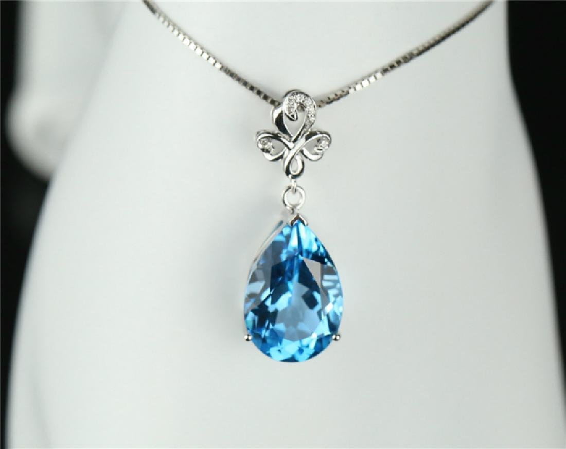 Certified-Swiss blue topaz pendant 7.2ct. With 18K - 6