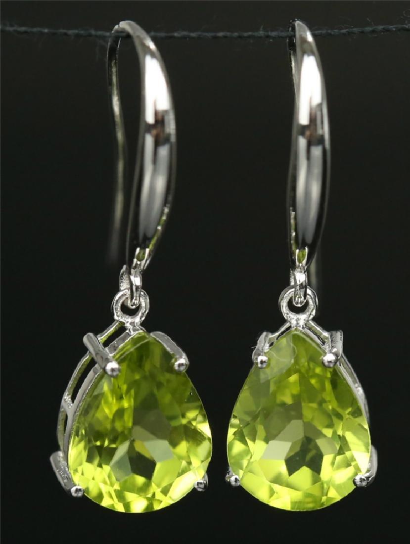 Certified-18K white gold Peridot earring - 2