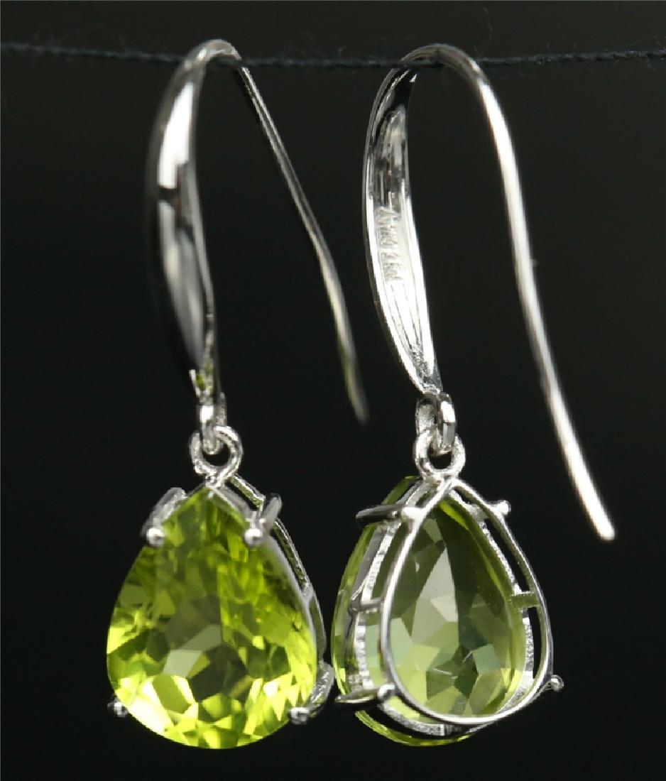 Certified-18K white gold Peridot earring - 3