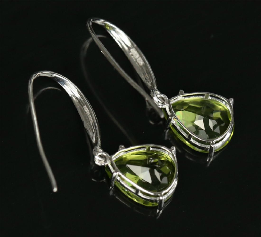 Certified-18K white gold Peridot earring - 5