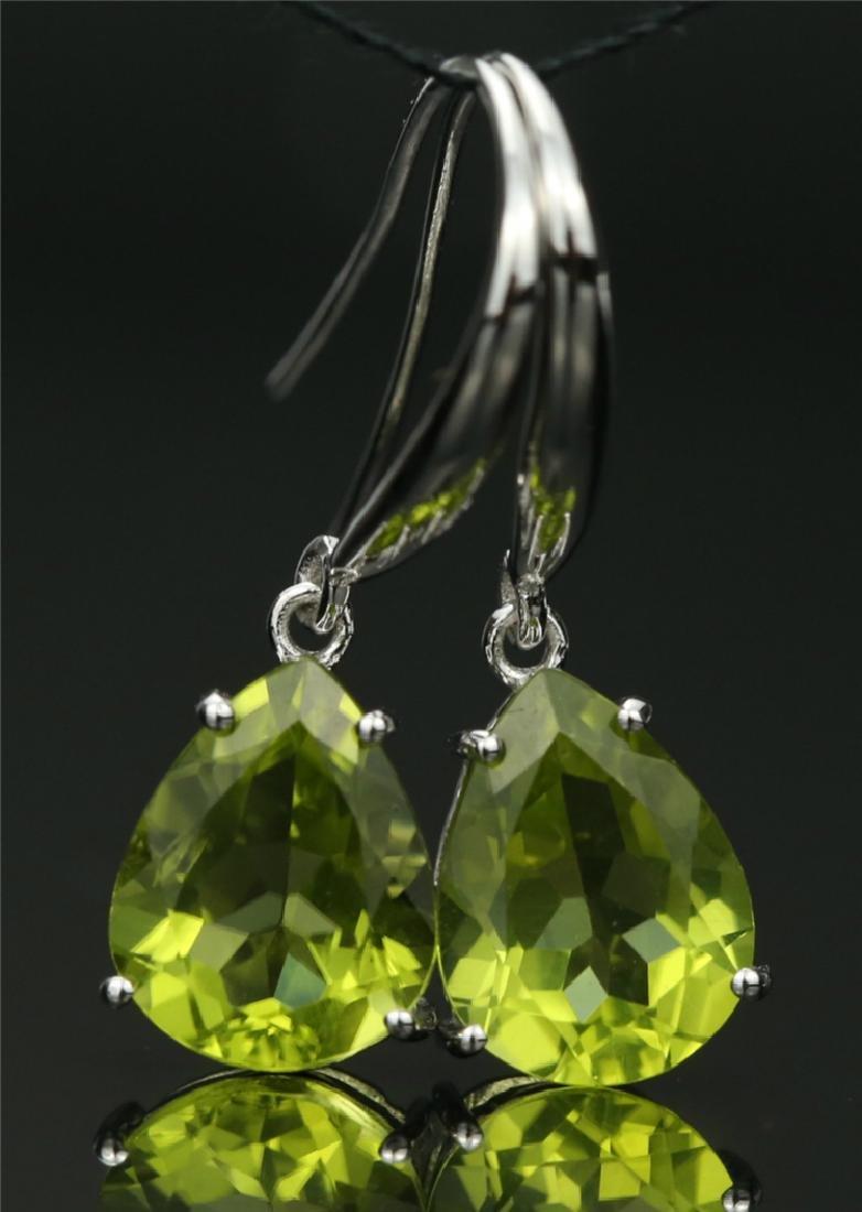 Certified-18K white gold Peridot earring - 6