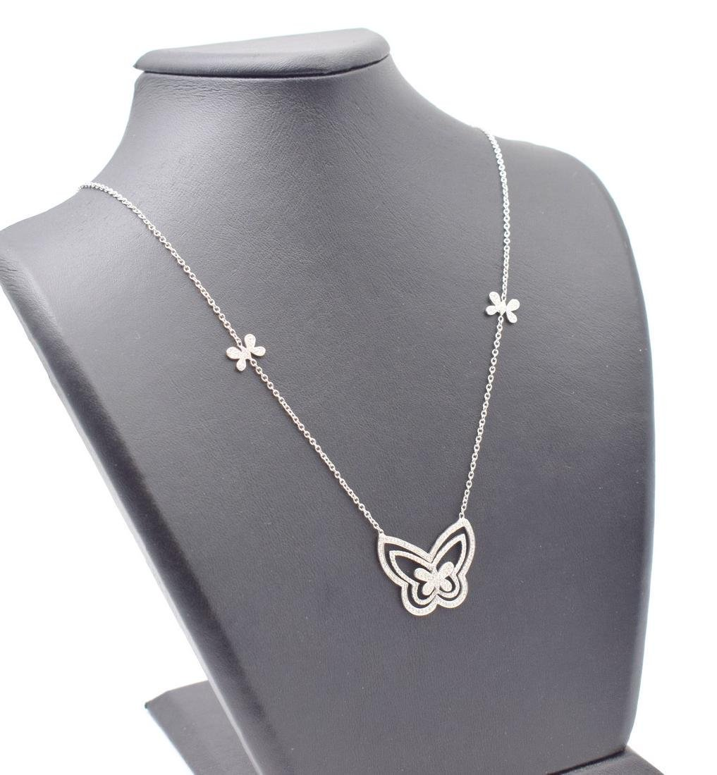 18 carat yellow gold necklace with diamond Butterfly - 8