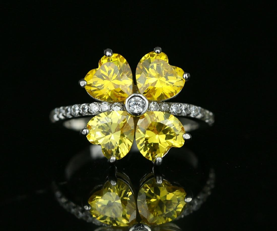 925 silver ring with yellow zirco