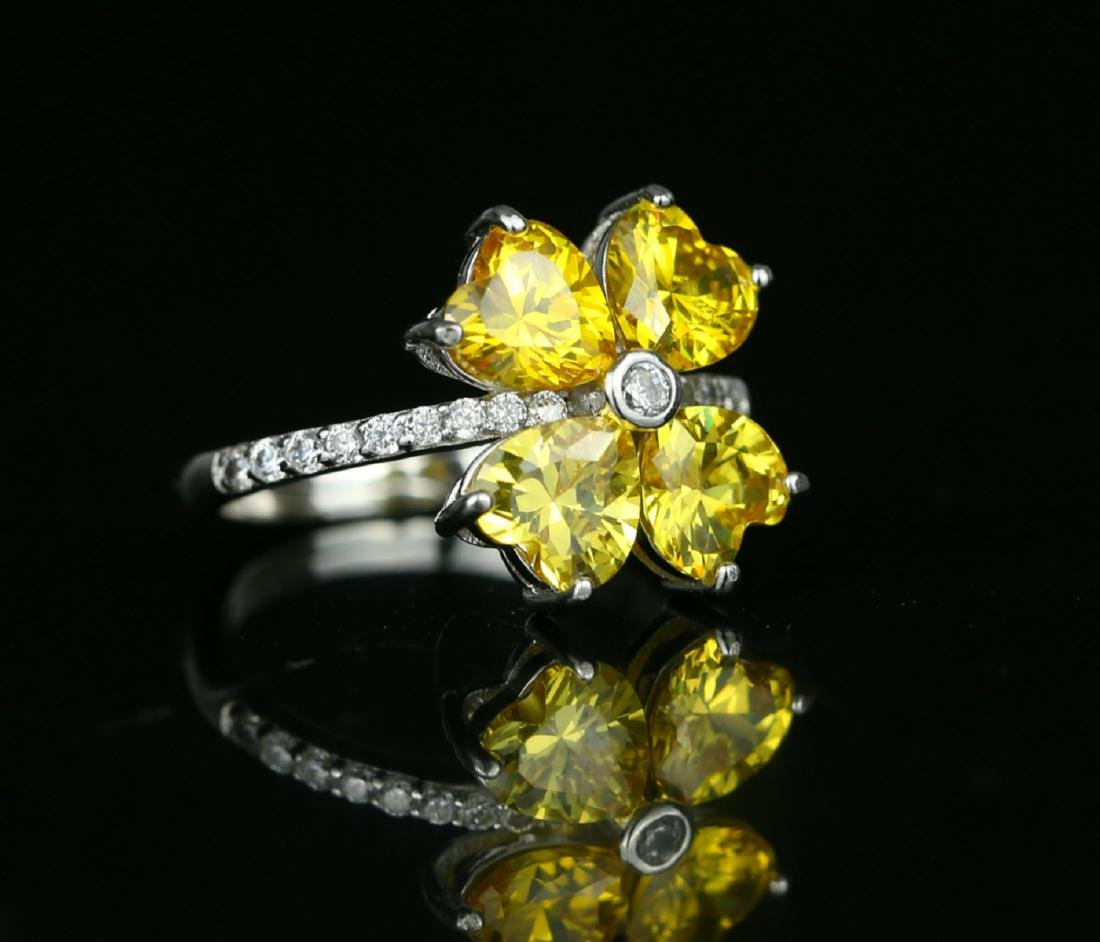 925 silver ring with yellow zirco - 2