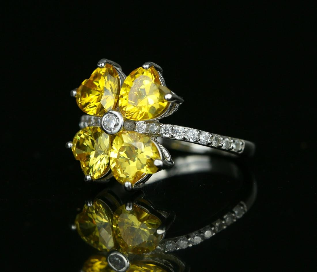925 silver ring with yellow zirco - 4