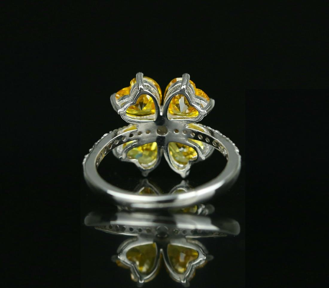 925 silver ring with yellow zirco - 5