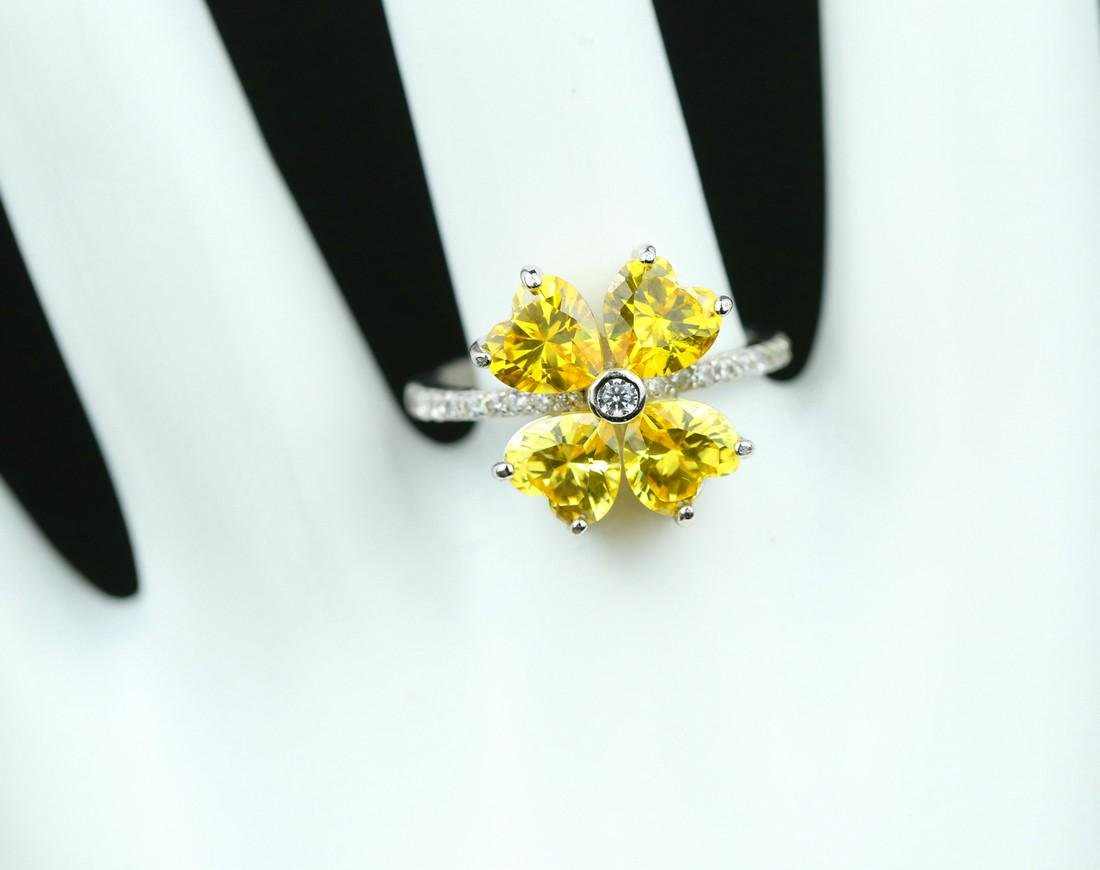 925 silver ring with yellow zirco - 6