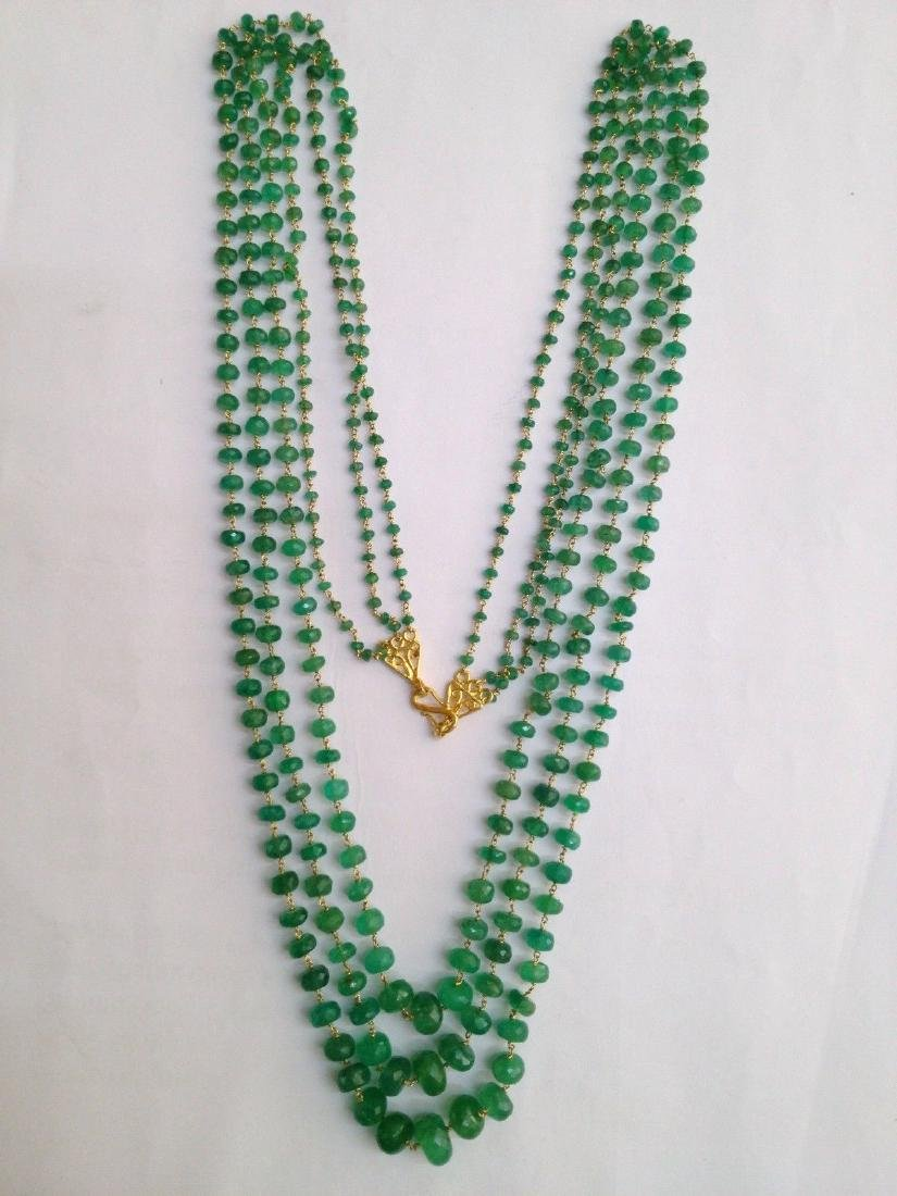 COLOMBIAN EMERALD THREE LINE 18 KT GOLD NECKLACES