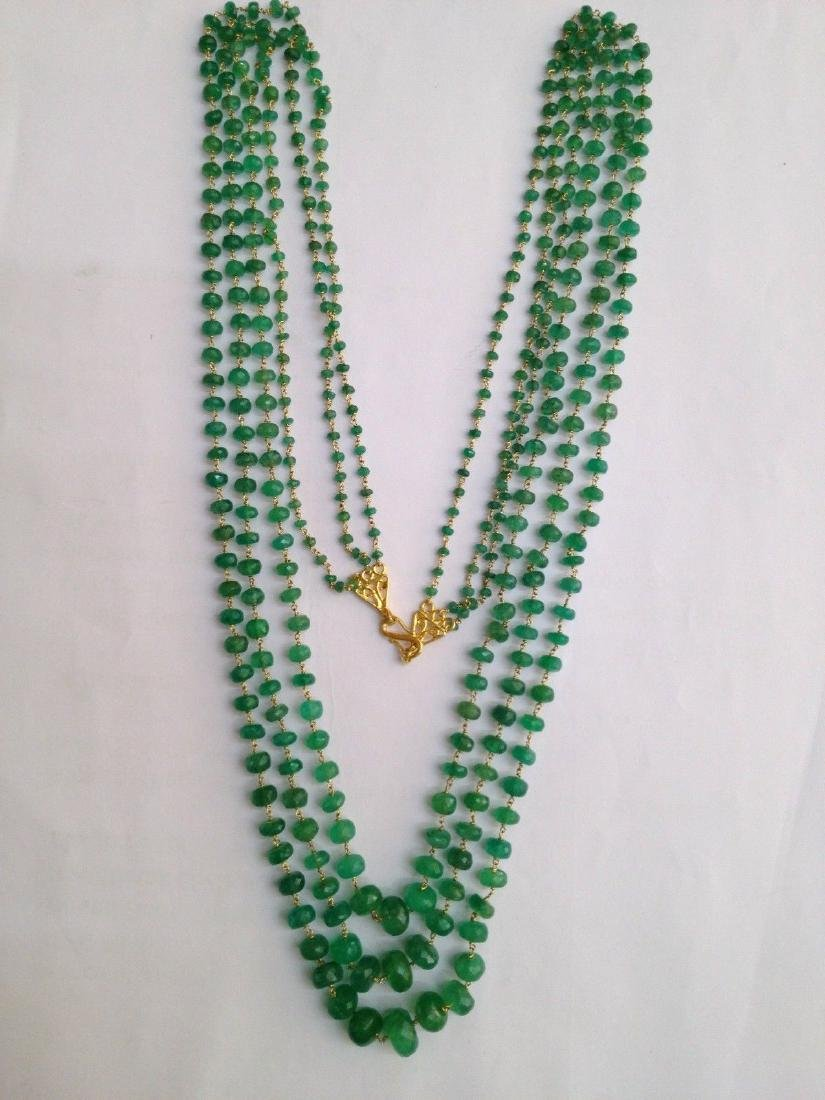 COLOMBIAN EMERALD THREE LINE 18 KT GOLD NECKLACES - 2