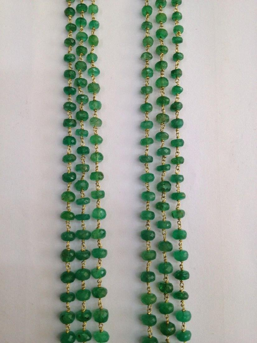 COLOMBIAN EMERALD THREE LINE 18 KT GOLD NECKLACES - 5
