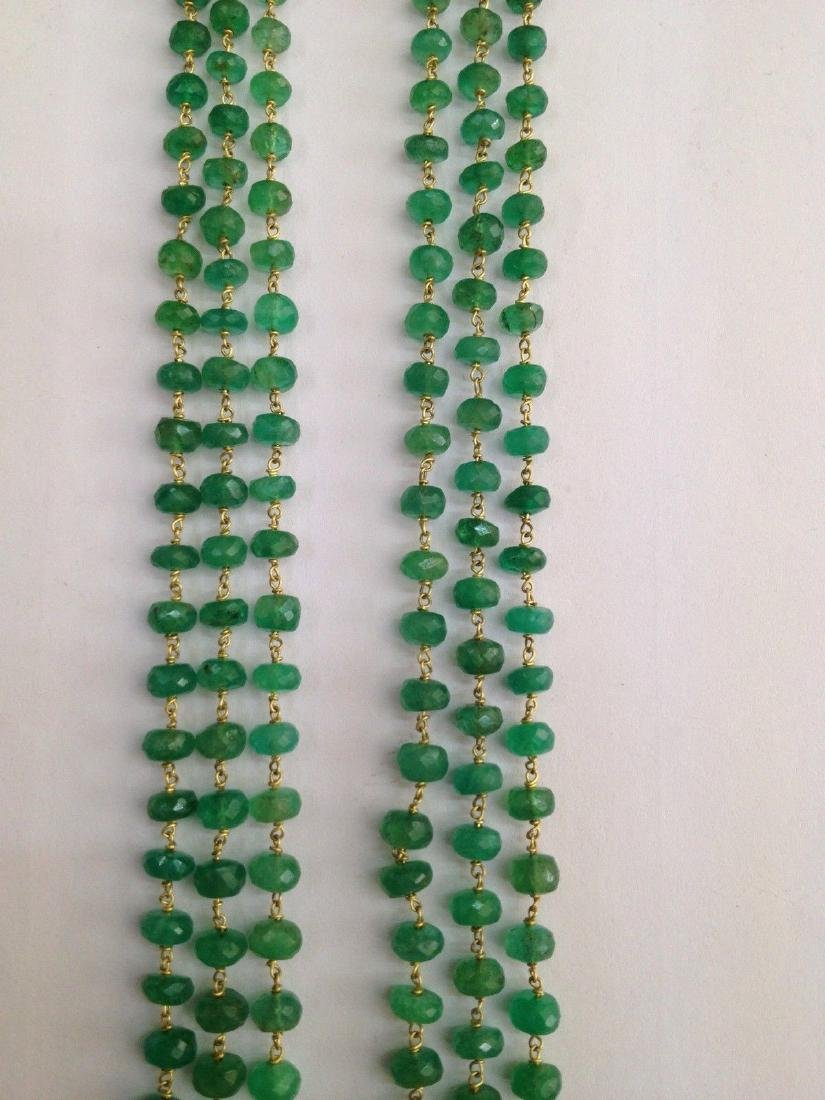 COLOMBIAN EMERALD THREE LINE 18 KT GOLD NECKLACES - 6