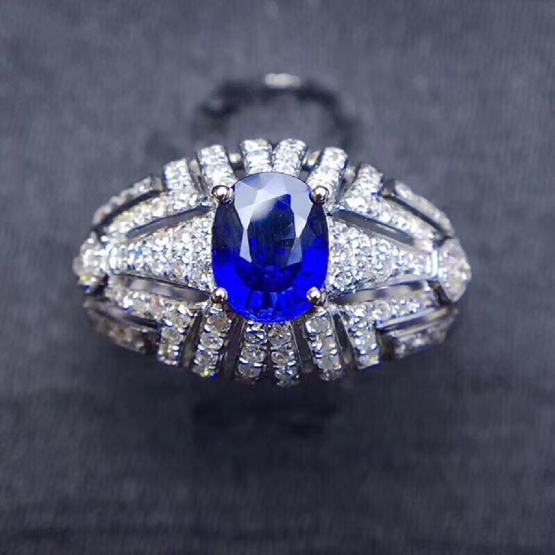 1.0 CTW sapphire & VS Diamond Pendant 18K