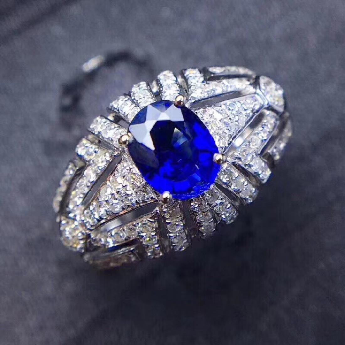 1.0 CTW sapphire & VS Diamond Pendant 18K - 2