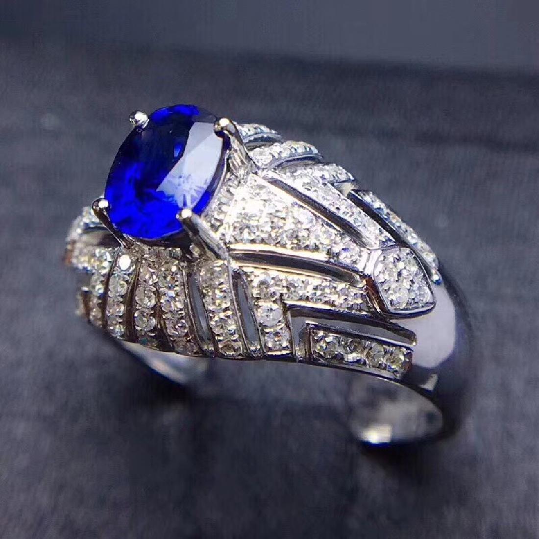 1.0 CTW sapphire & VS Diamond Pendant 18K - 4