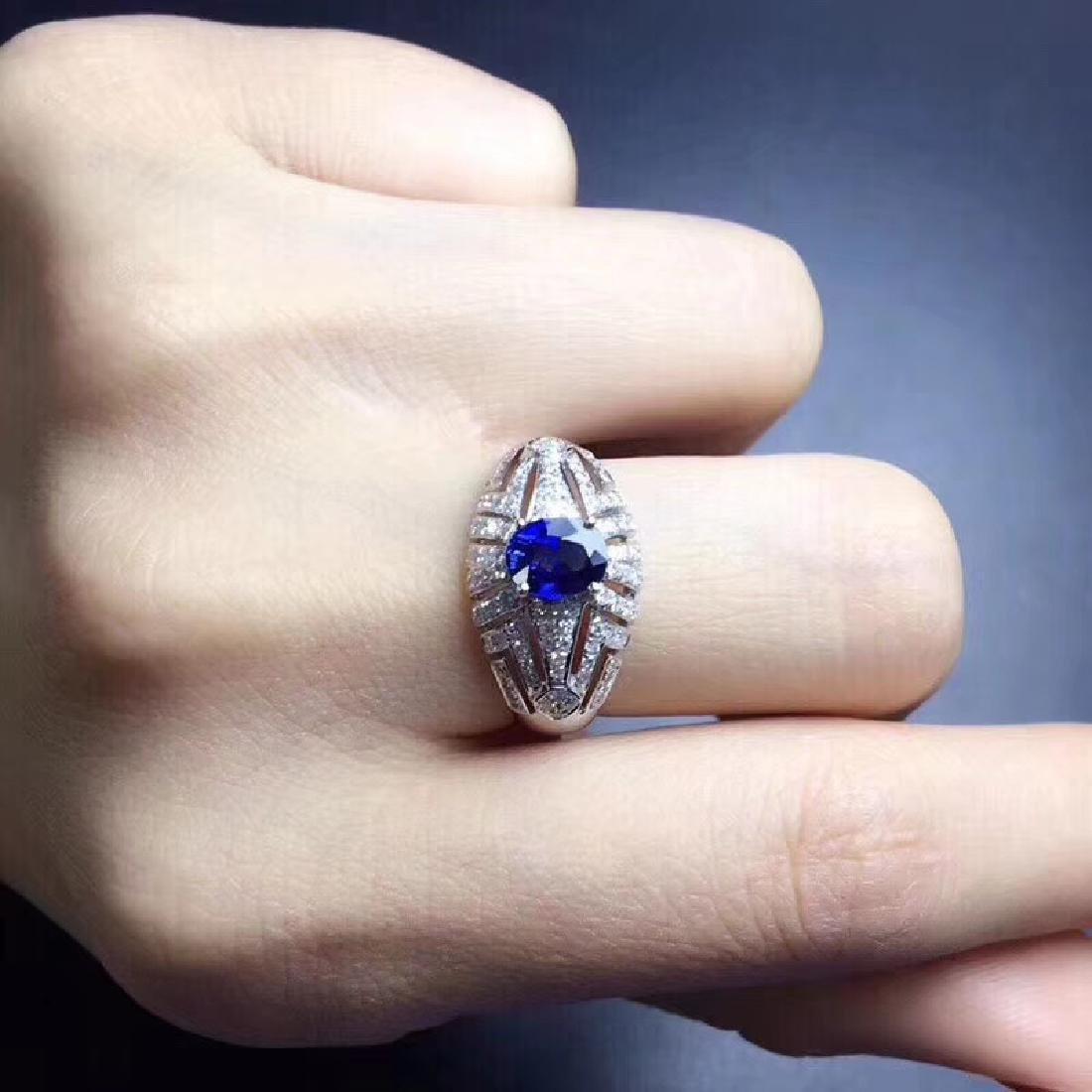 1.0 CTW sapphire & VS Diamond Pendant 18K - 6
