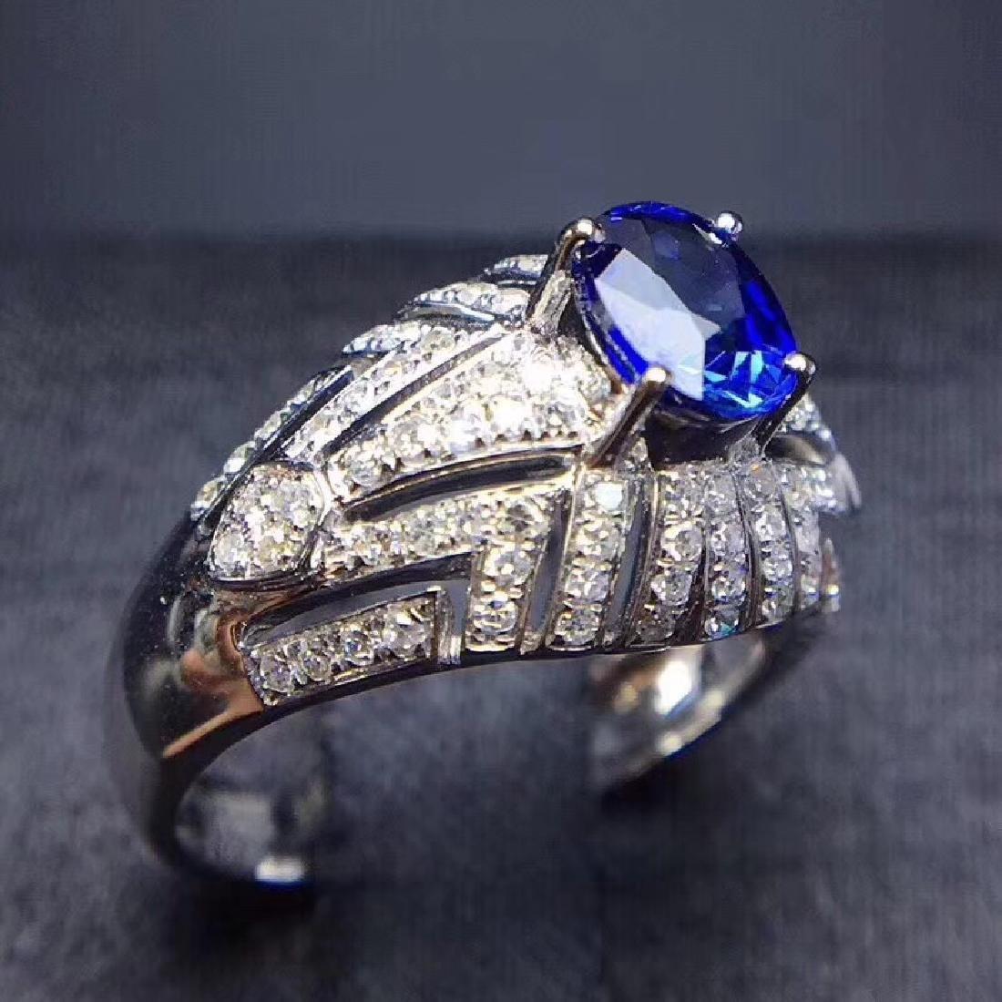 1.0 CTW sapphire & VS Diamond Pendant 18K - 7