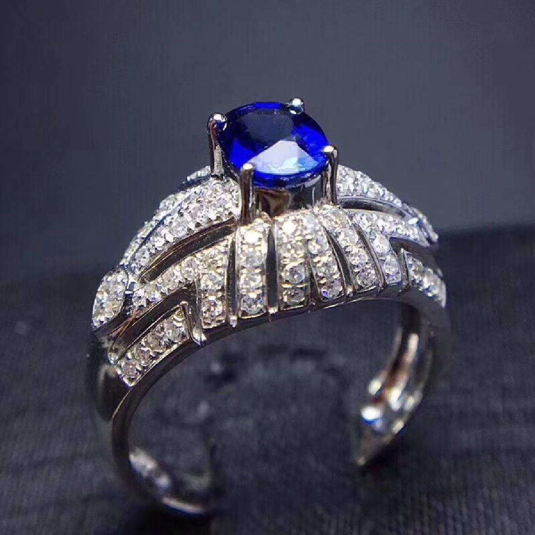 1.0 CTW sapphire & VS Diamond Pendant 18K - 8