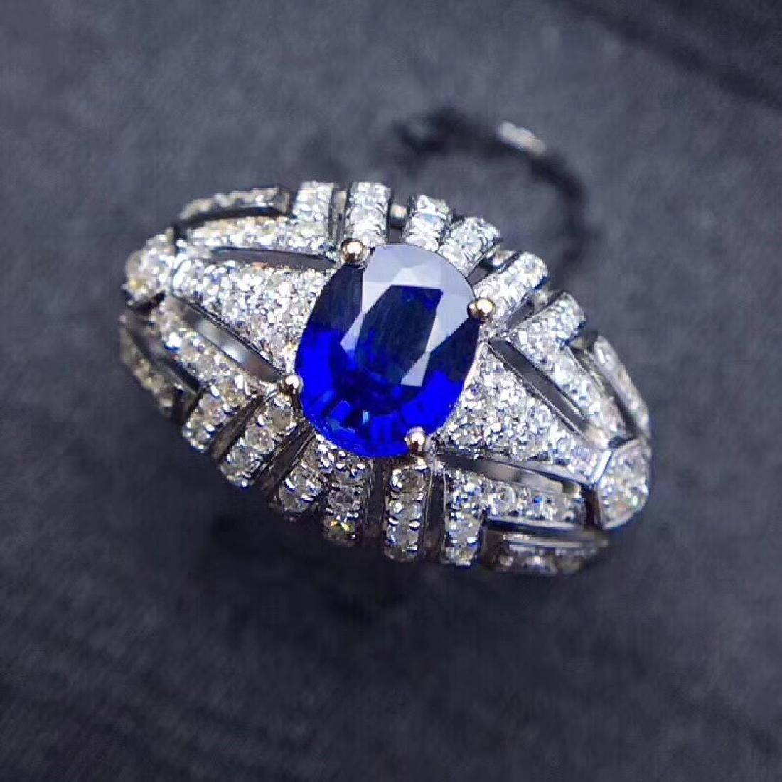 1.0 CTW sapphire & VS Diamond Pendant 18K - 9
